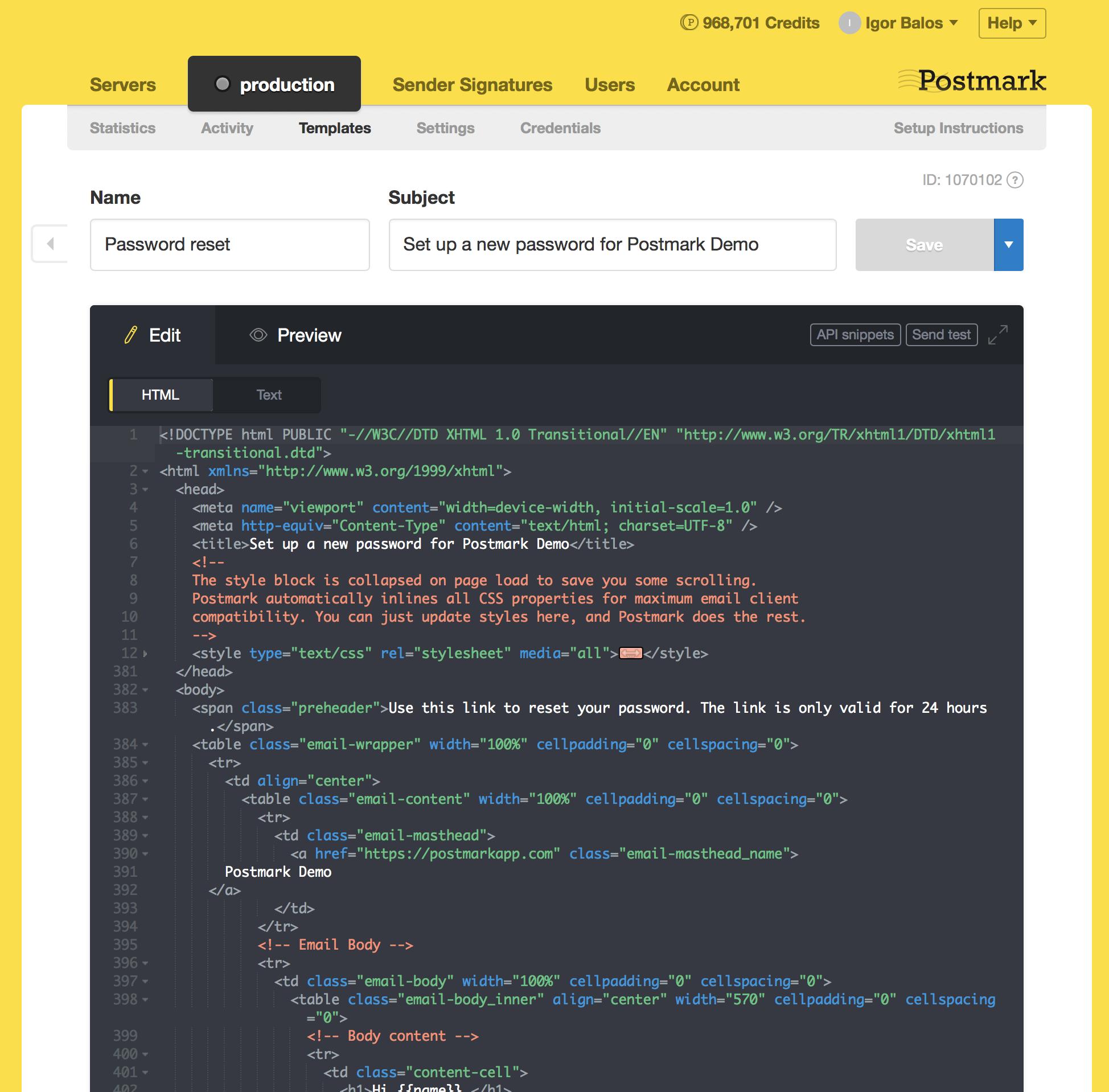 Postmark Demo - Email Template Editor