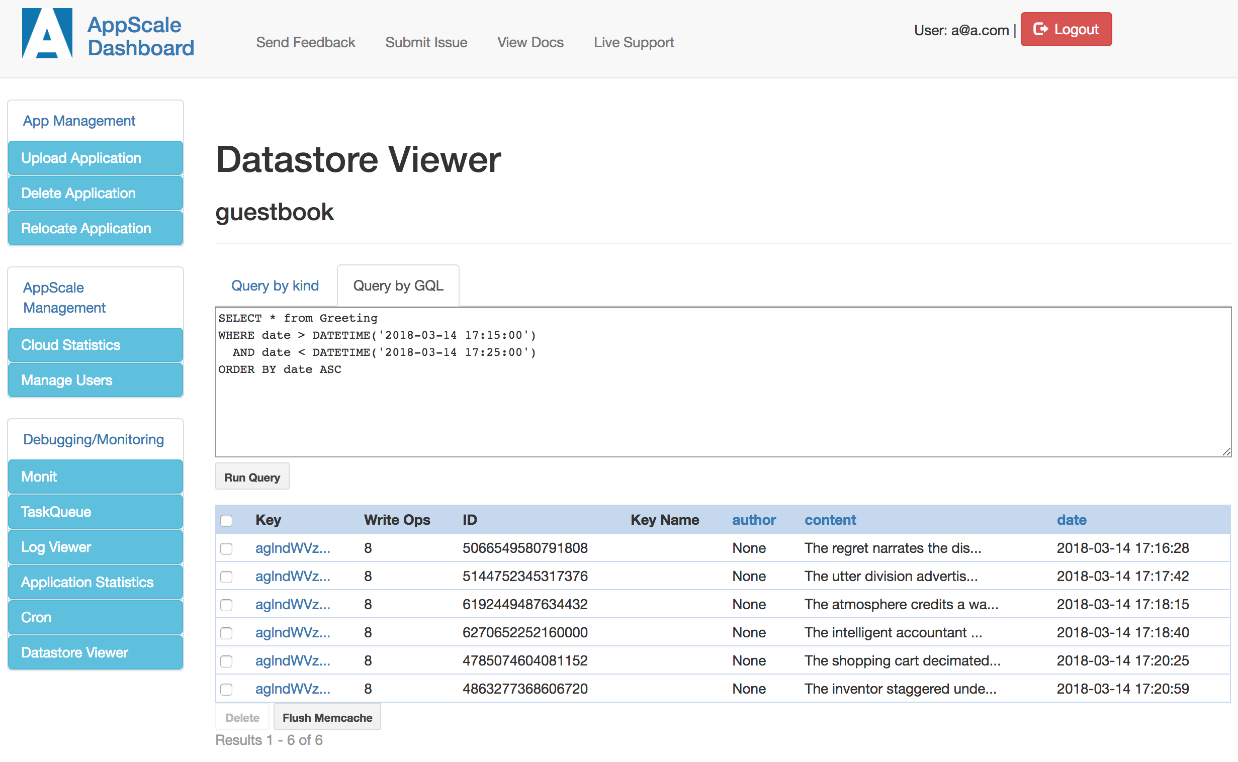 AppScale Demo - AppScale Datastore Viewer