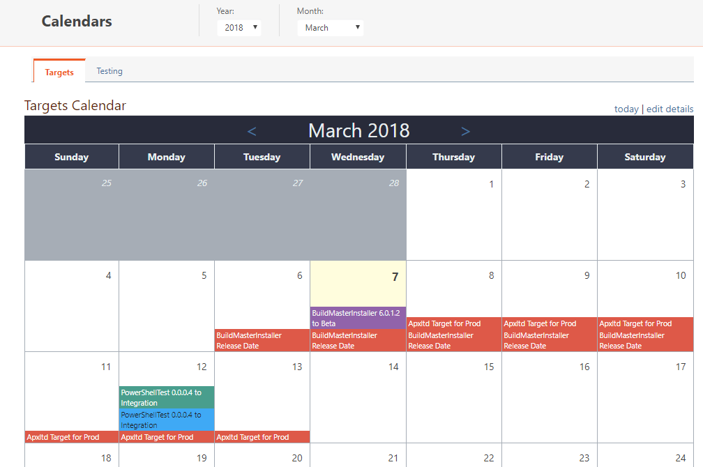 BuildMaster Demo - Release and Deployment Calendars
