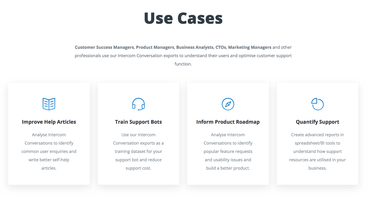 IntercomExport Demo - Use Cases