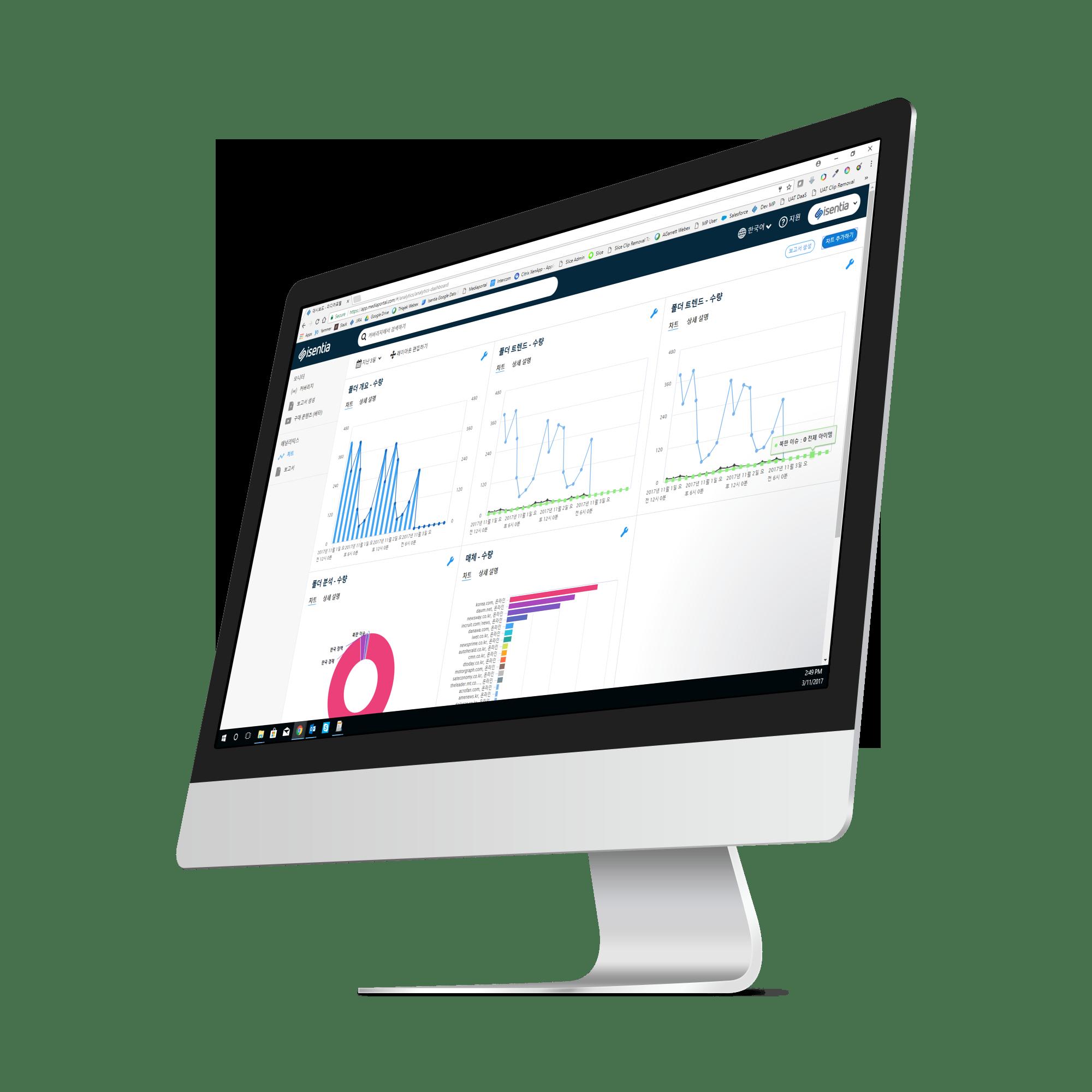 Isentia Mediaportal Demo - Mediaportal Analytics with Korean UI