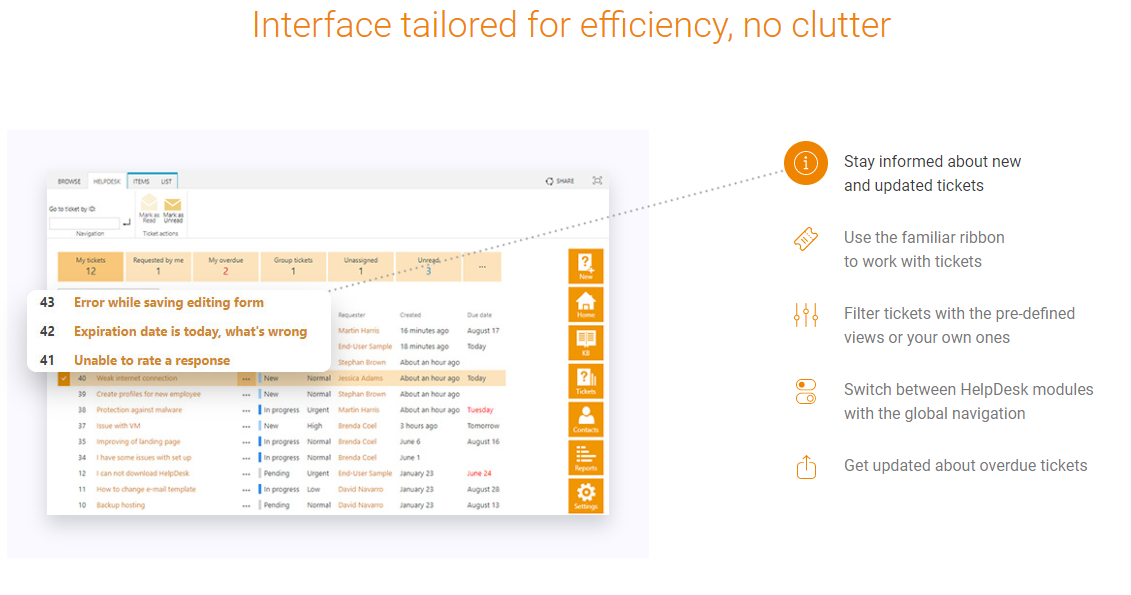 Plumsail HelpDesk Demo - Interface tailored for efficiency, no clutter
