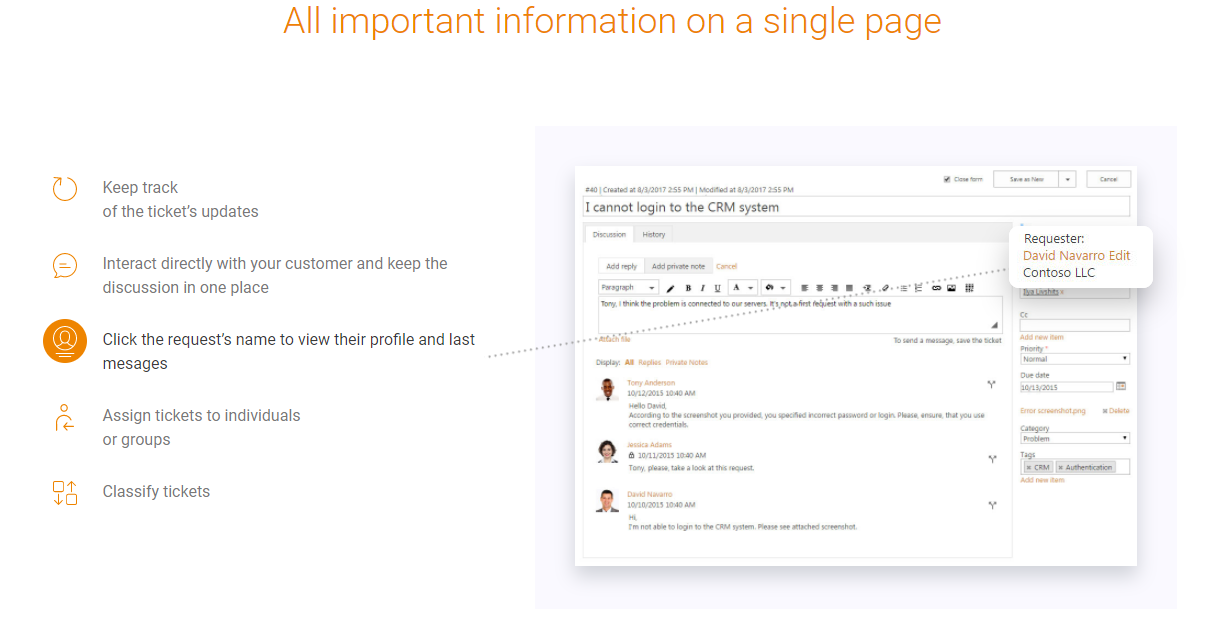 Plumsail HelpDesk Demo - All important information on a single page