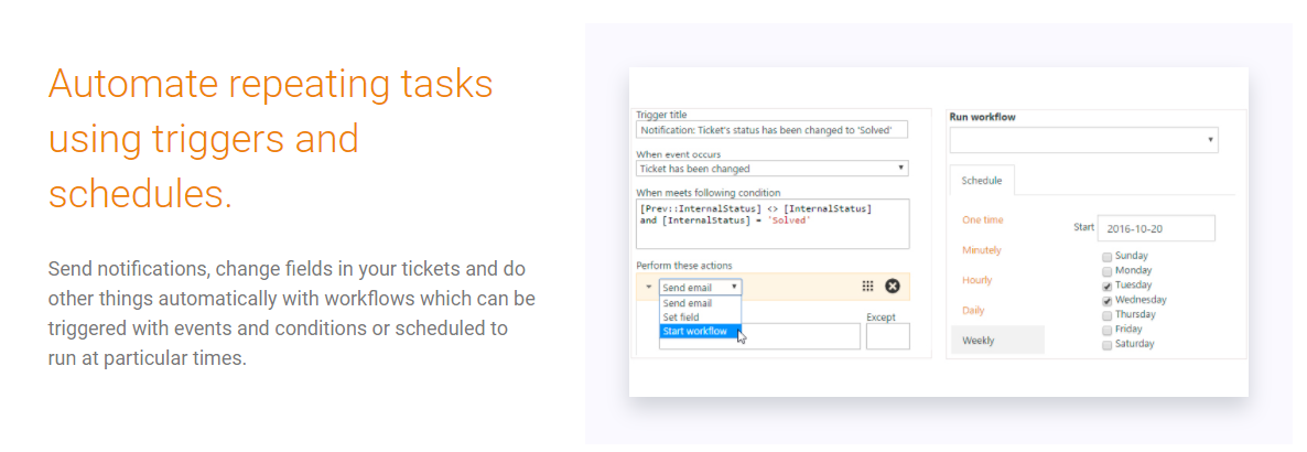 Plumsail HelpDesk Demo - Automate repeating tasks using triggers and schedules.