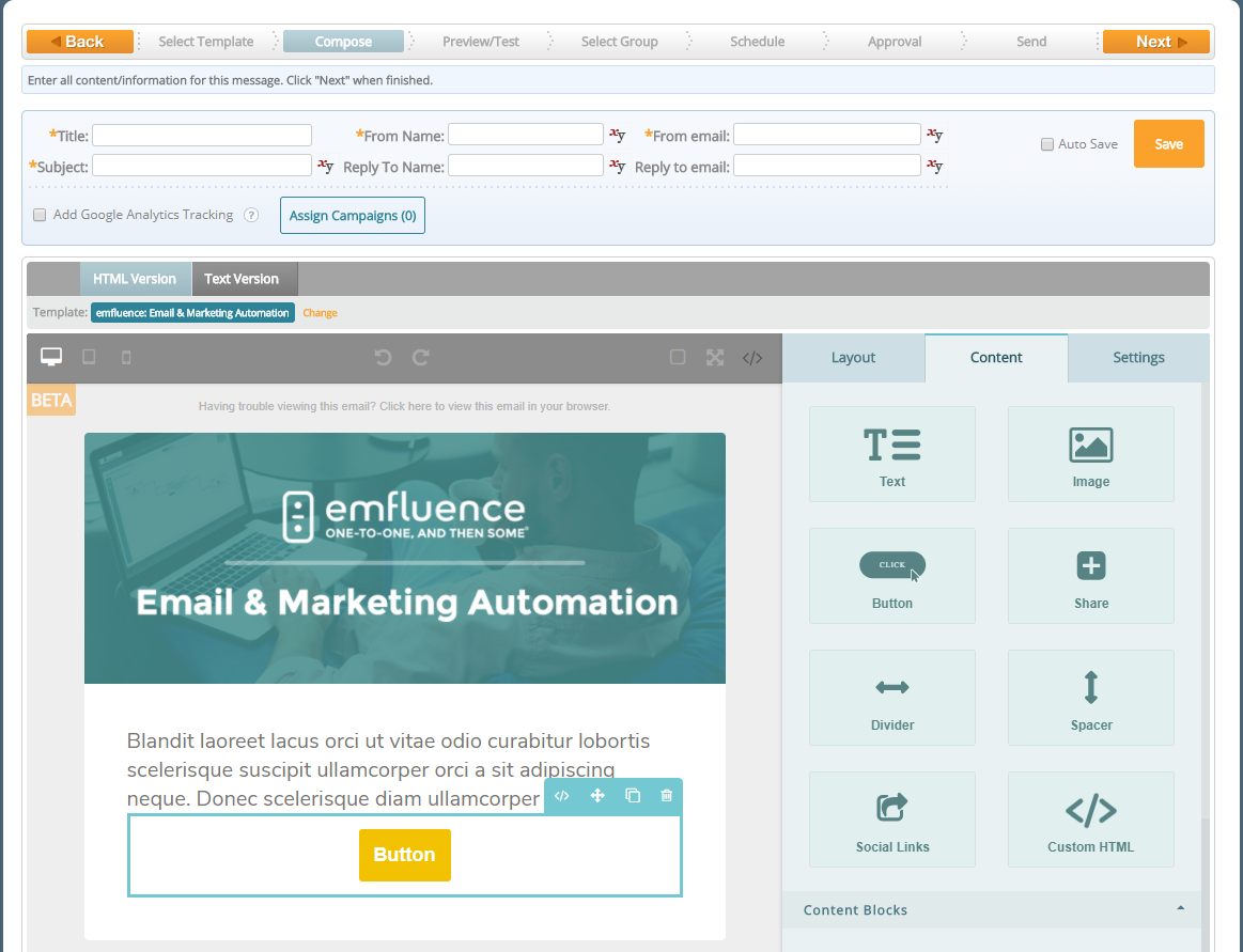 emfluence Marketing Platform Demo - Drag and Drop Email Builder