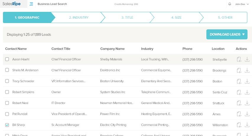 SalesRipe Demo - Build Targeted Lead Lists