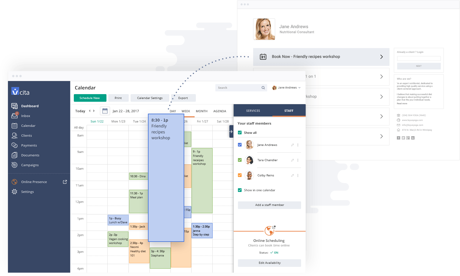 vCita Demo - Create Services and Events and Let Users Book Online