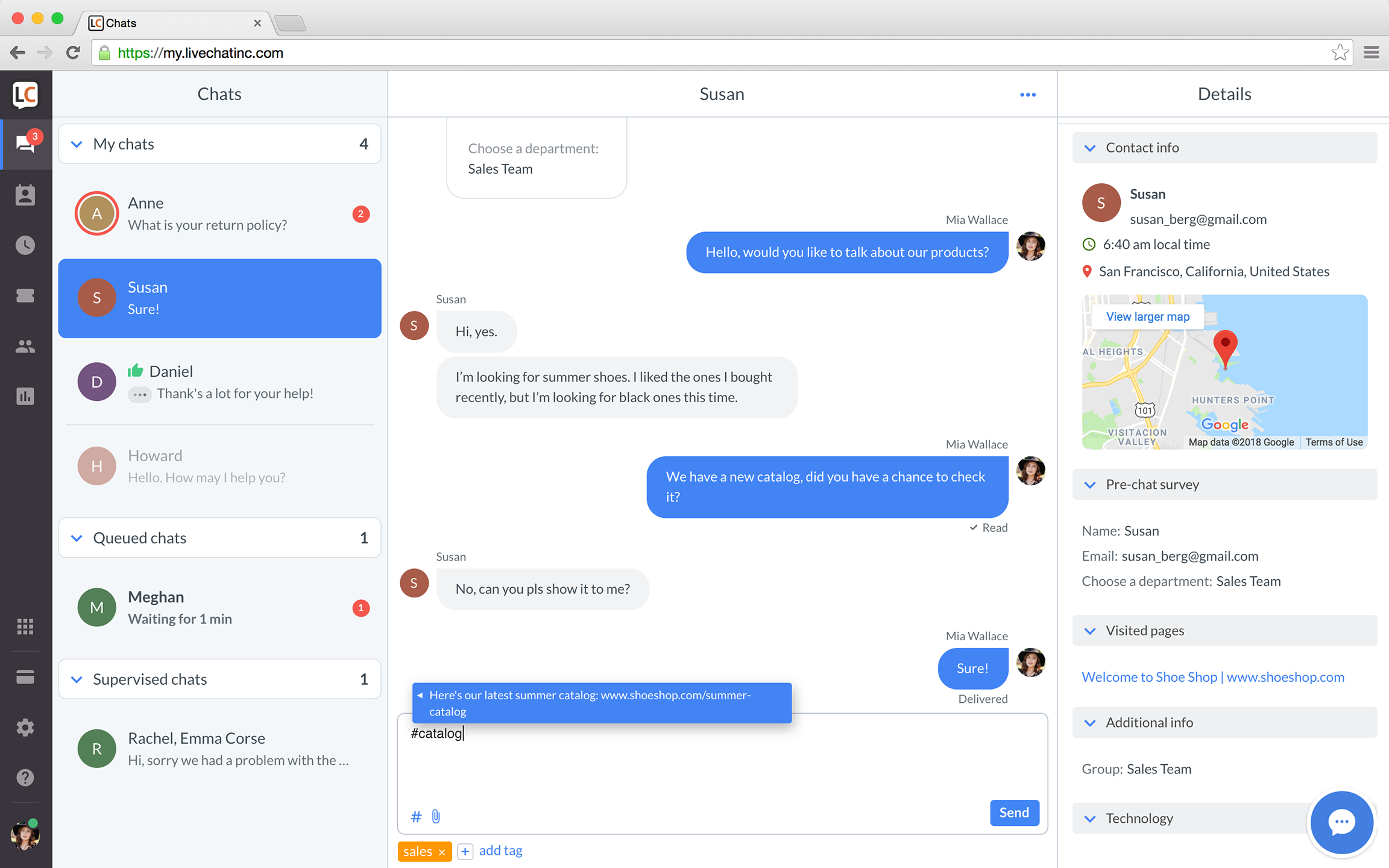 LiveChat Demo - Chat sessions in LiveChat