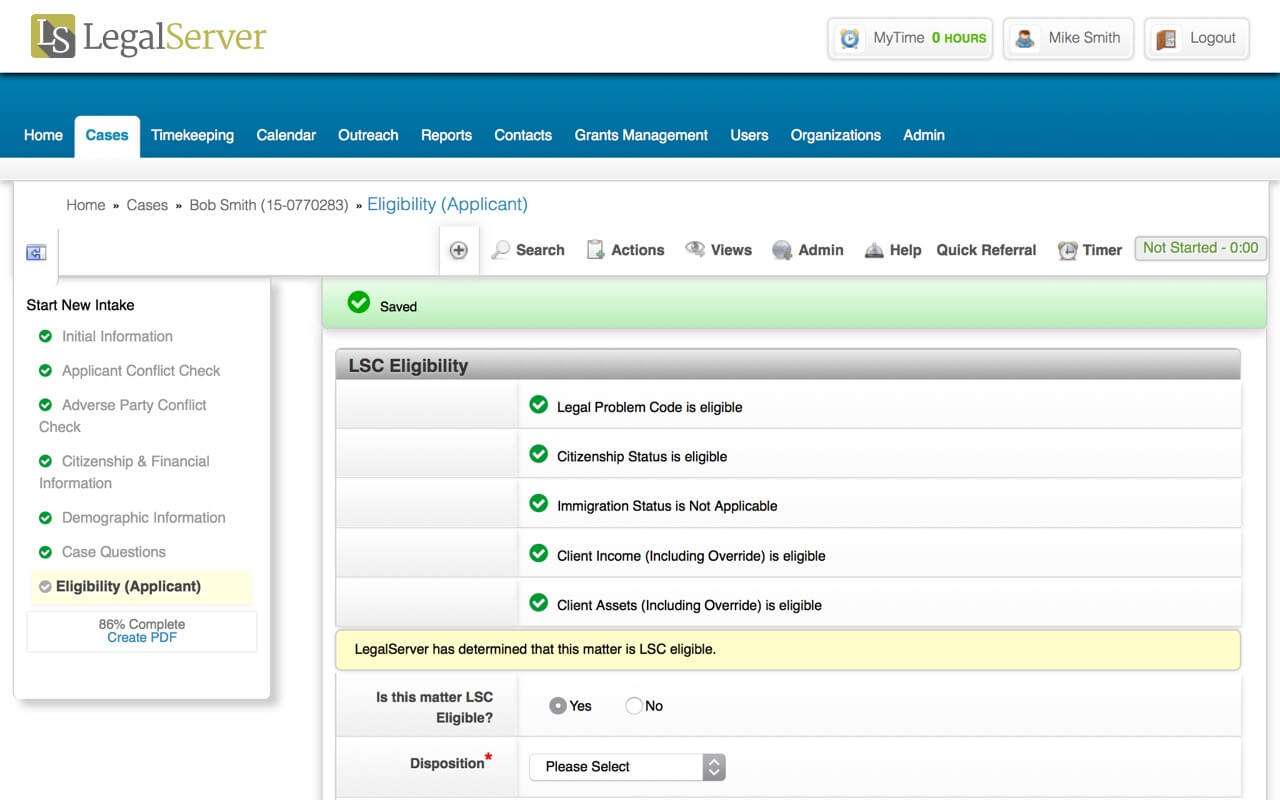 LegalServer Demo - Client Intake