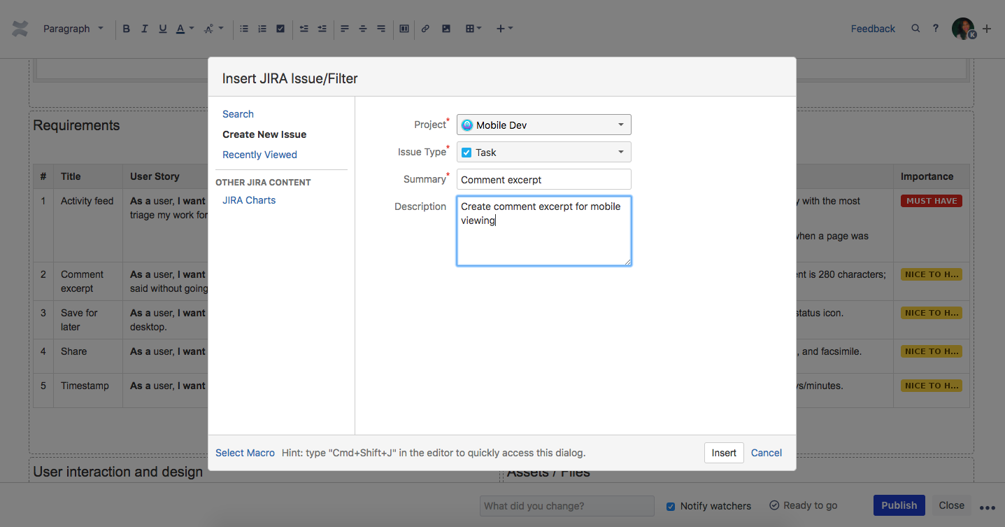 Create jira issue