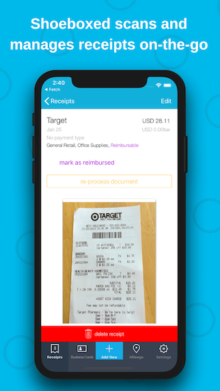 Shoeboxed Demo - Mobile receipt capture