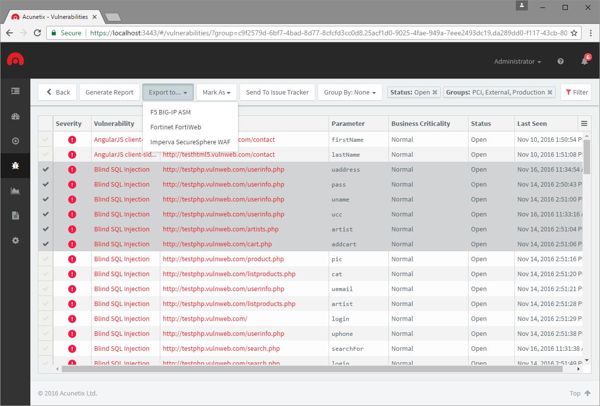 Acunetix Vulnerability Scanner Demo - WAF Integration