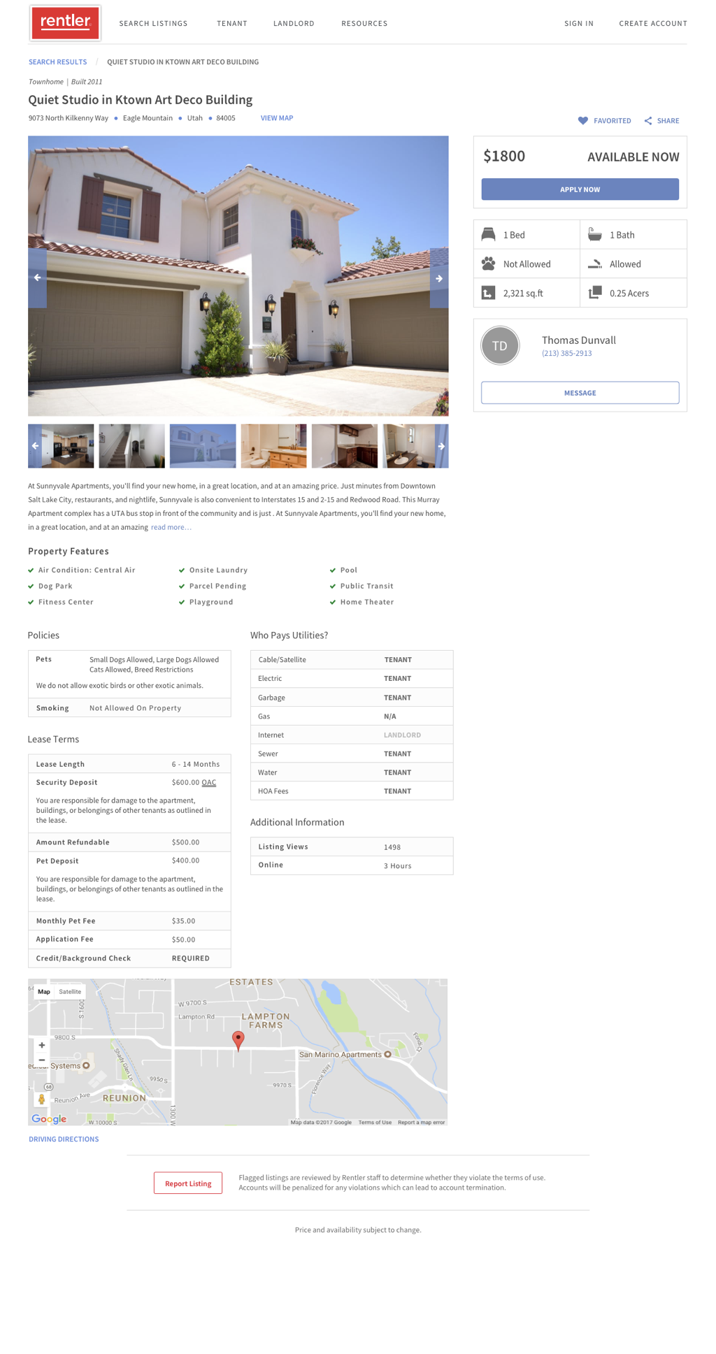 Rentler.com Demo - Property Listings Page on Rentler