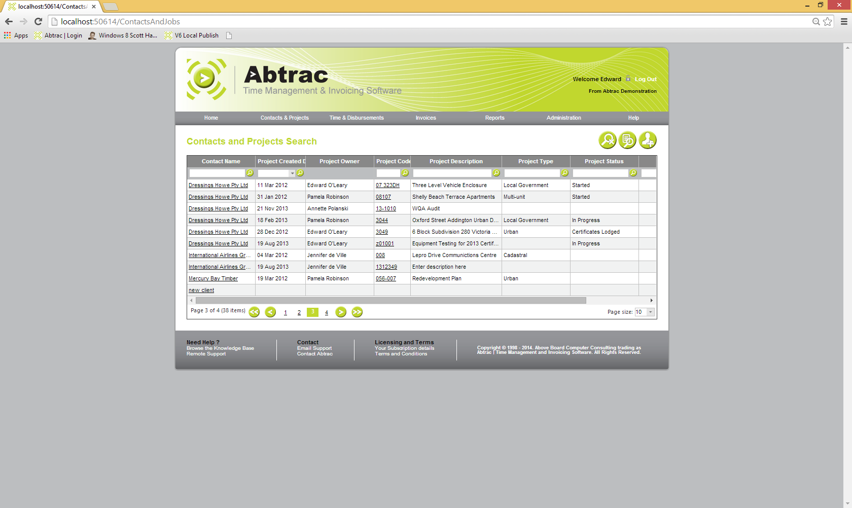 Abtrac Time Management & Invoicing Software Demo - SearchScreen.png