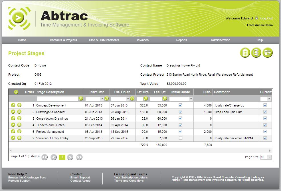 Abtrac Time Management & Invoicing Software Demo - ProjectStages.JPG