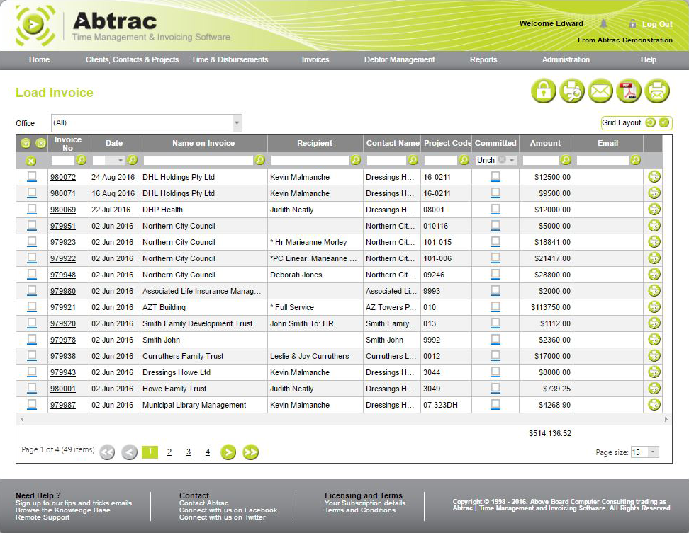 Abtrac Time Management & Invoicing Software Demo - 09.-Load-invoice.png