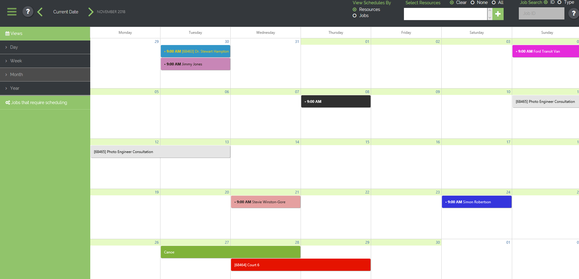 BusinessMan ERP Demo - Resource Scheduler