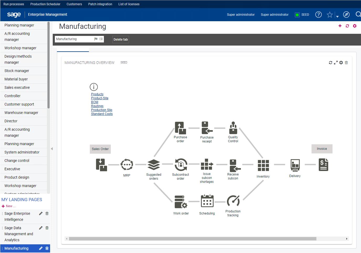 Sage Business Cloud Enterprise Management Demo - Manufacturing Interface
