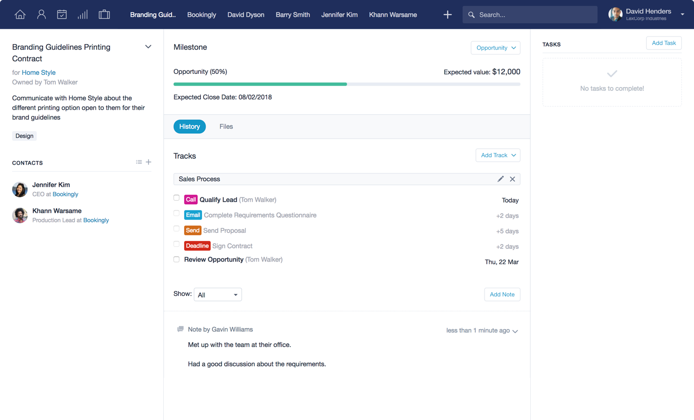 Capsule CRM Demo - Opportunity Summary