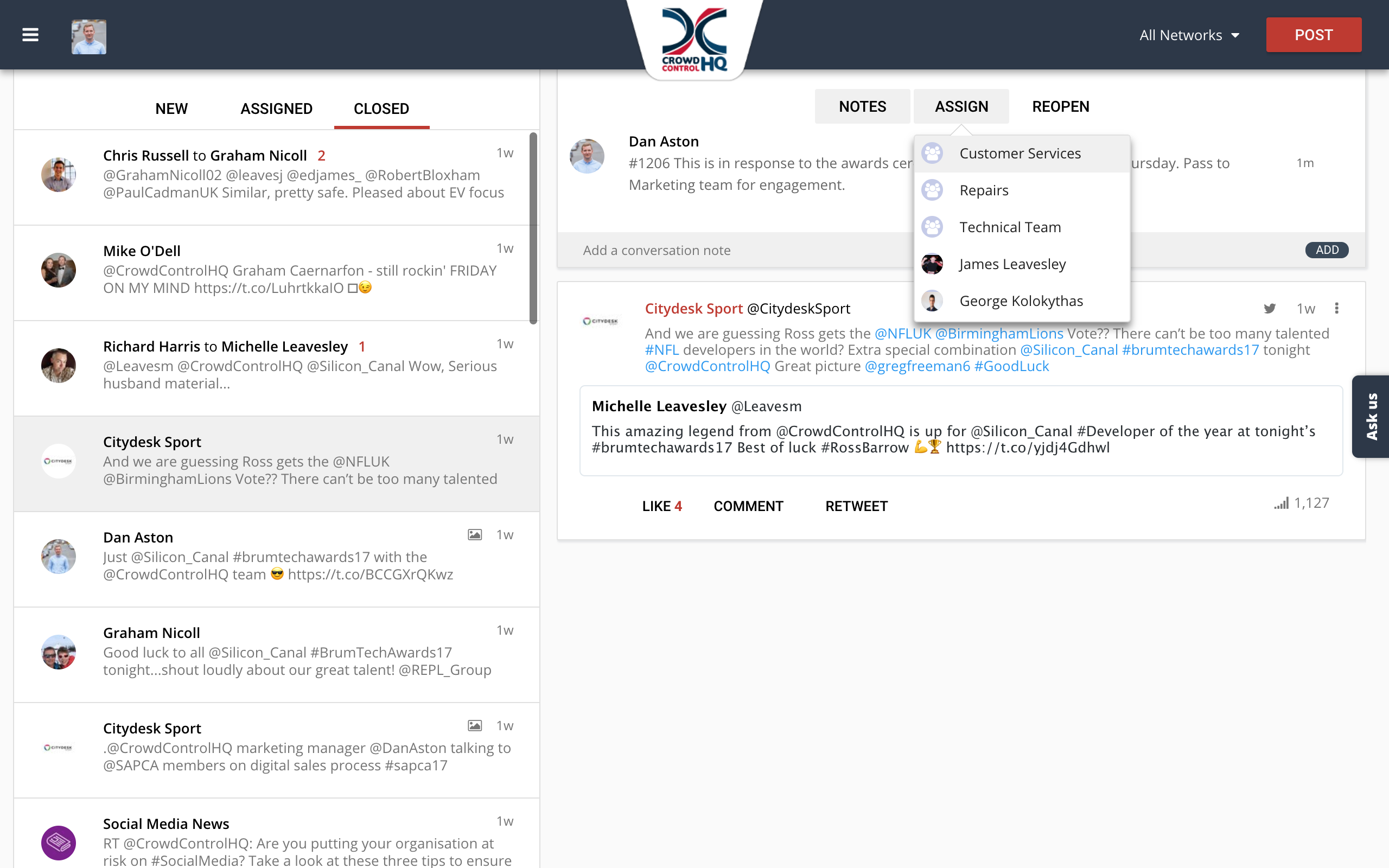 CrowdControlHQ Demo - A Single View Of Social Media Conversations