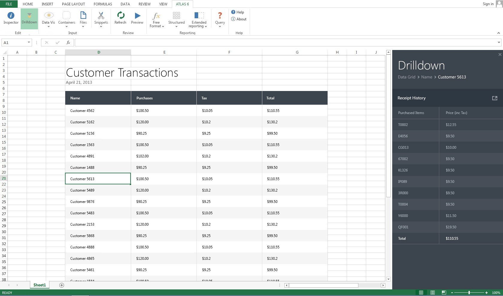 Atlas Demo - Pull Live ERP Data Directly into Excel and Drill Down