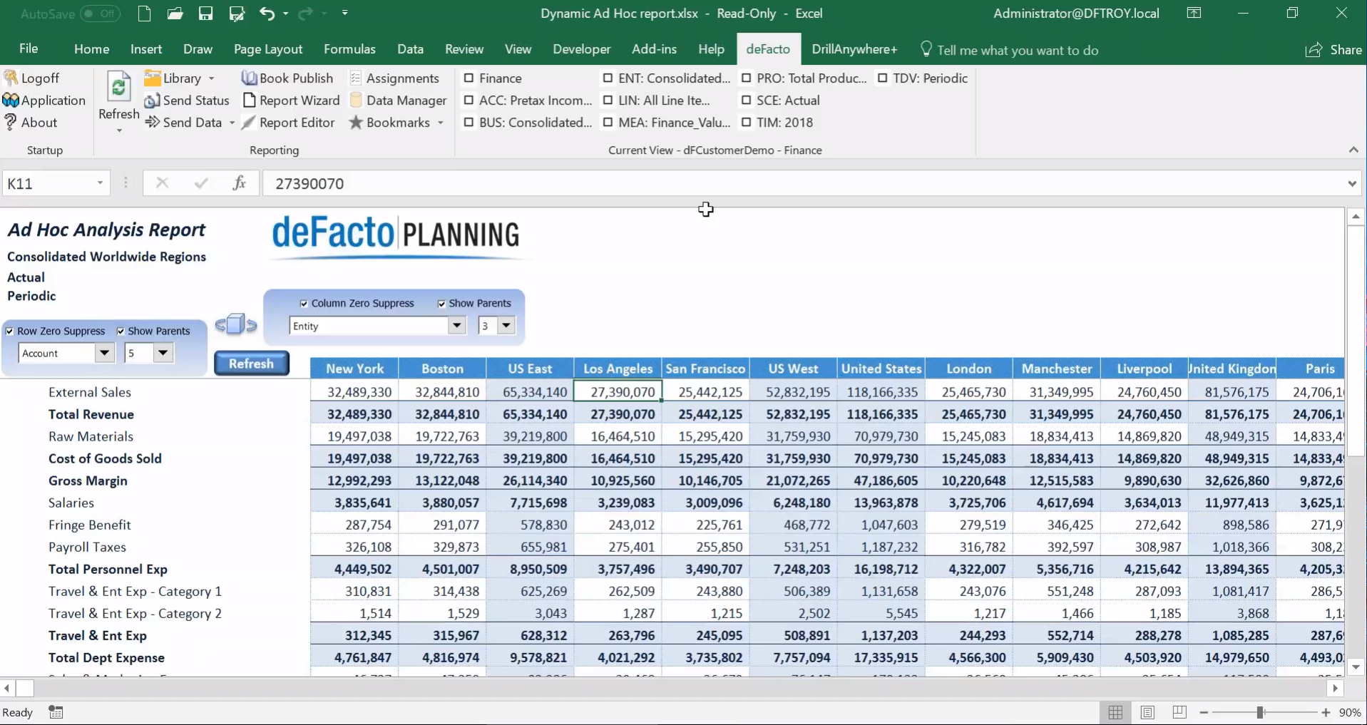 deFacto Planning Demo - Adhoc Report Analysis