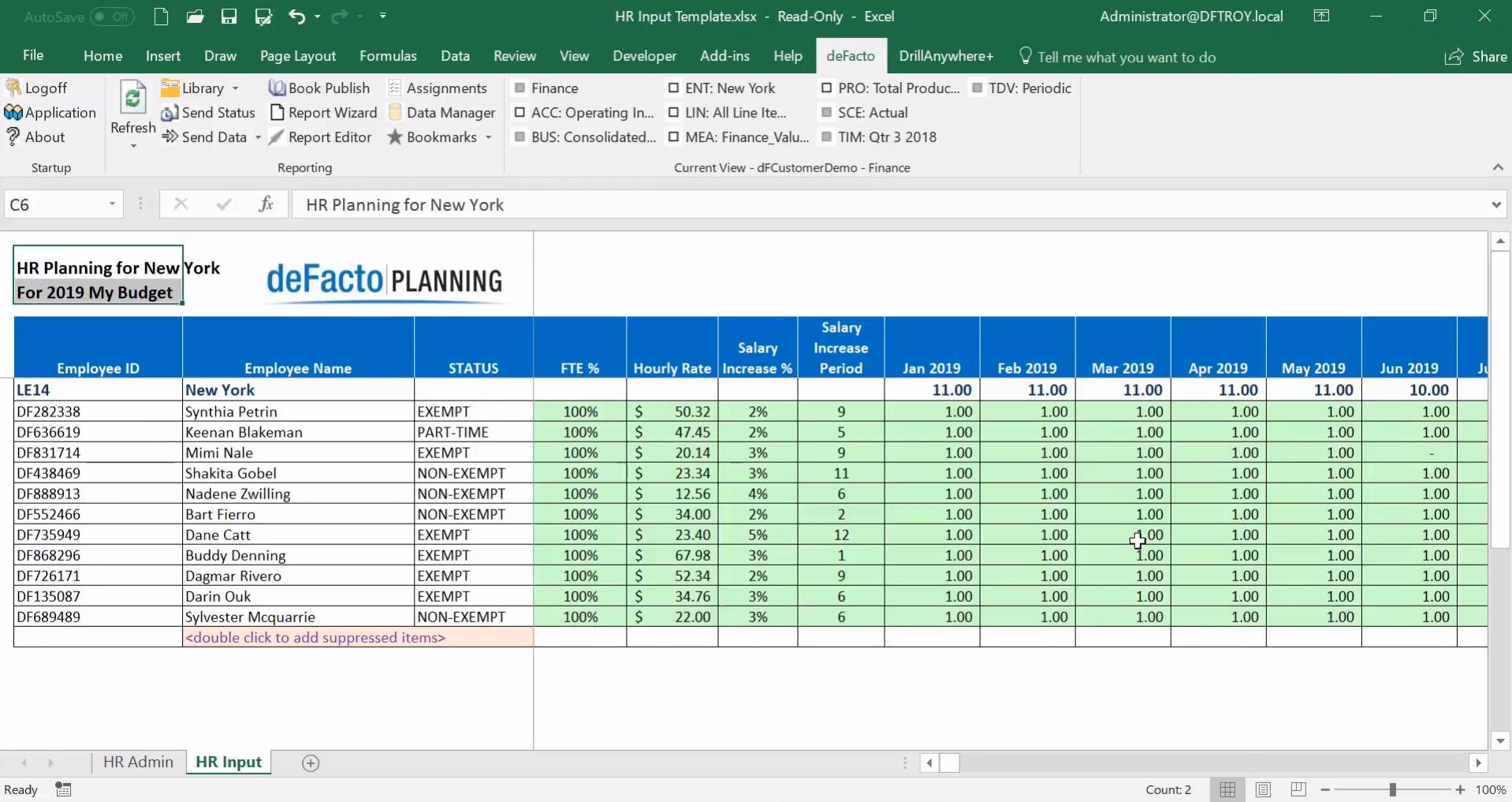 deFacto Planning Demo - HR Planning