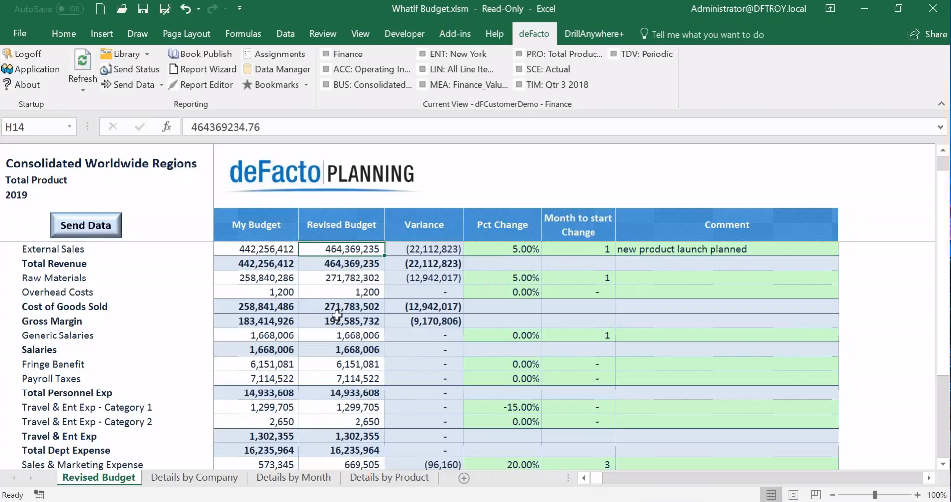 deFacto Planning Demo - Variance Reporting