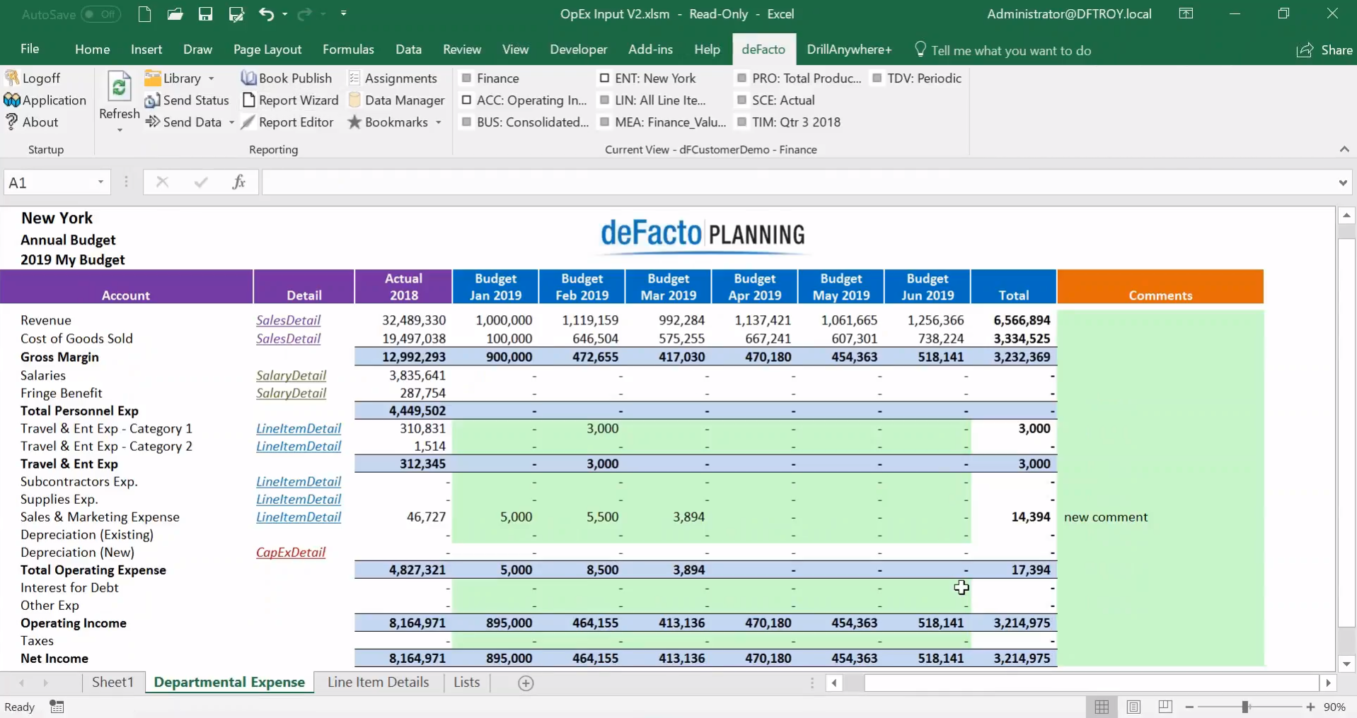 deFacto Planning Demo - Budget Template Example