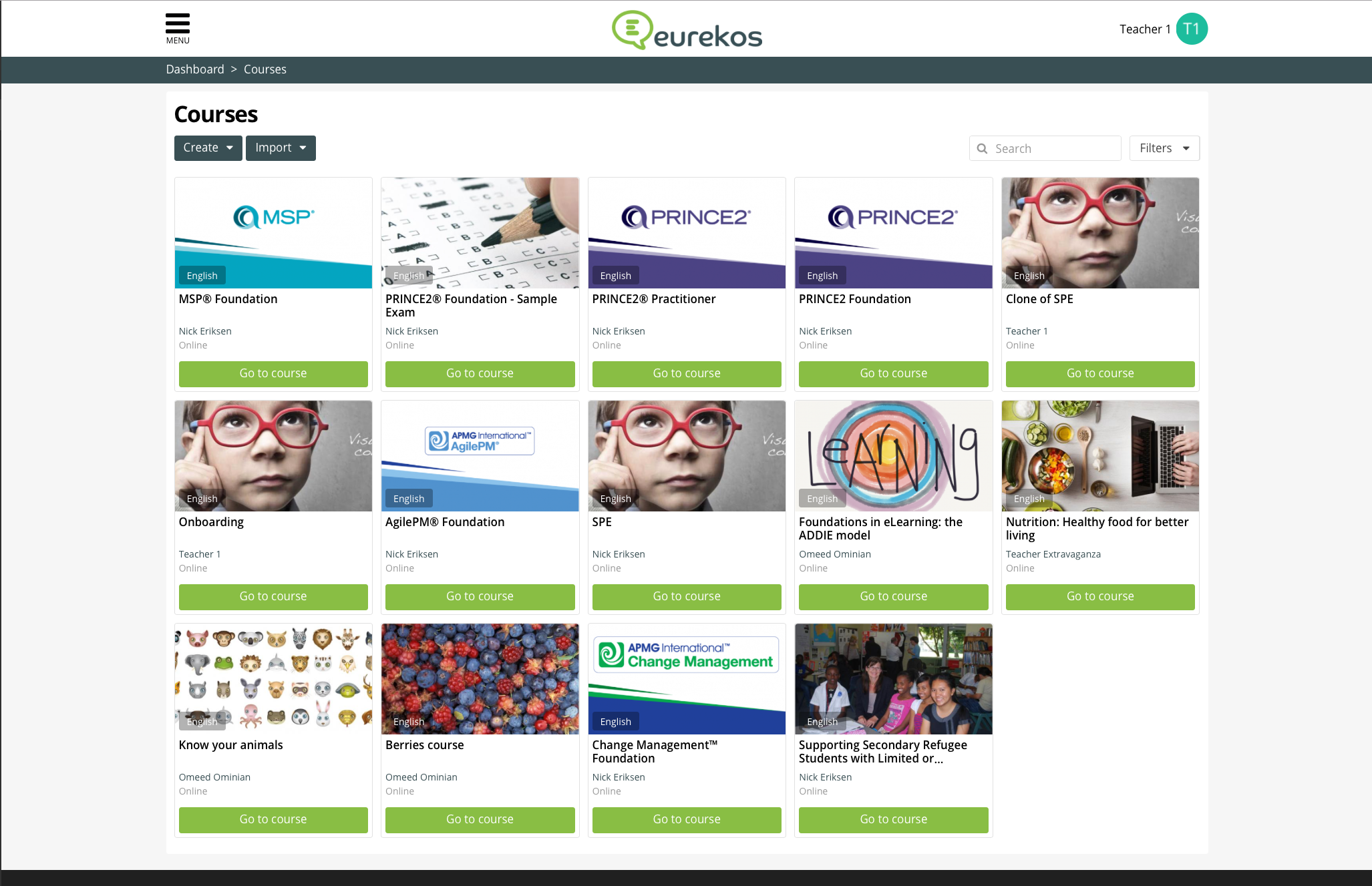 Eurekos Demo - Overview of your courses