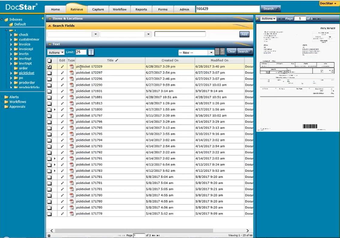 DocStar ECM Demo - DocStar ECM Retrieve List