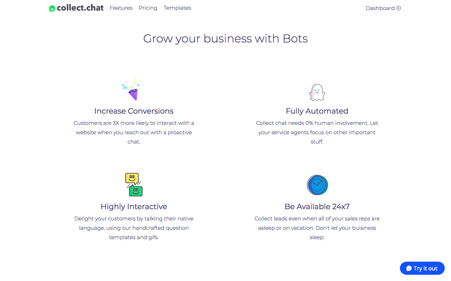 Collect.chat Demo - Grow your business with Bots