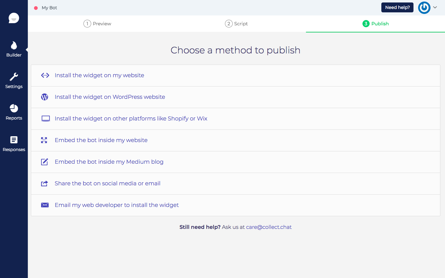 Collect.chat Demo - Publish Page