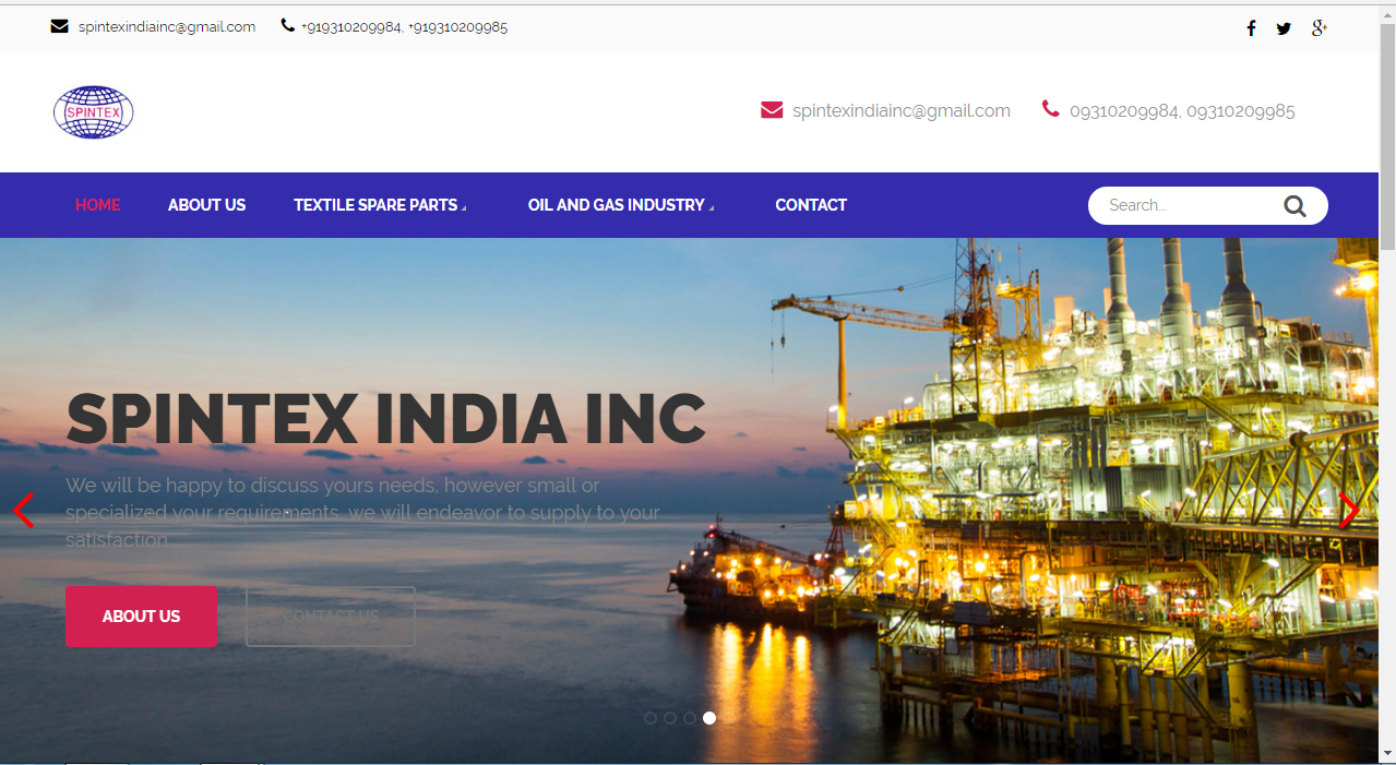 Website Design Demo - Importer Of Spare Part Of Textile Machine Spintex India Inc. Website On Word Press