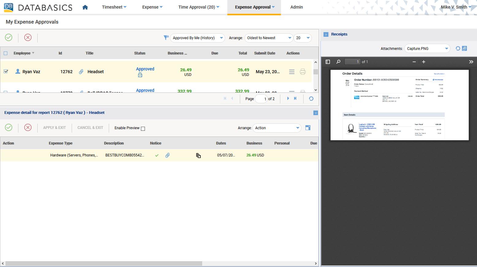 DATABASICS Expense Demo - DATABASICS Expense — Desktop Expense Approval