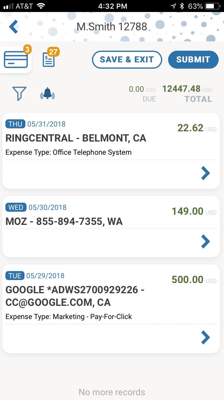 DATABASICS Expense Demo - DATABASICS Expense — Mobile Credit Card Transaction Feed