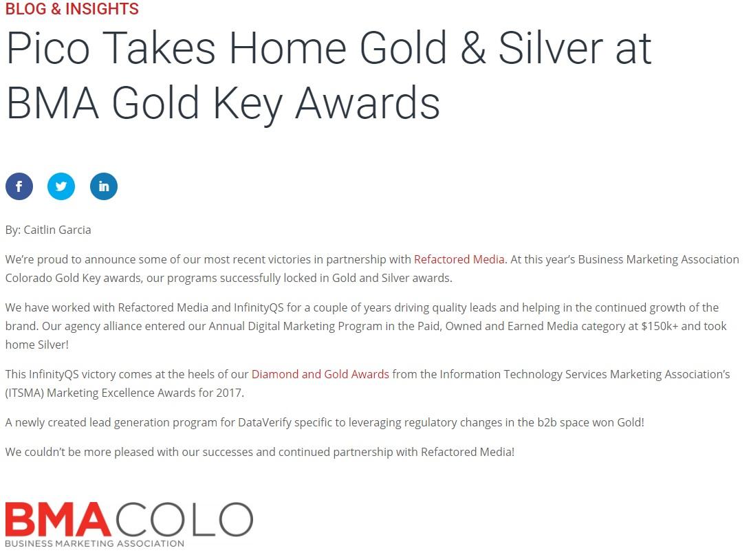 Pico Digital Demo - 2018 BMA Gold Key Awards