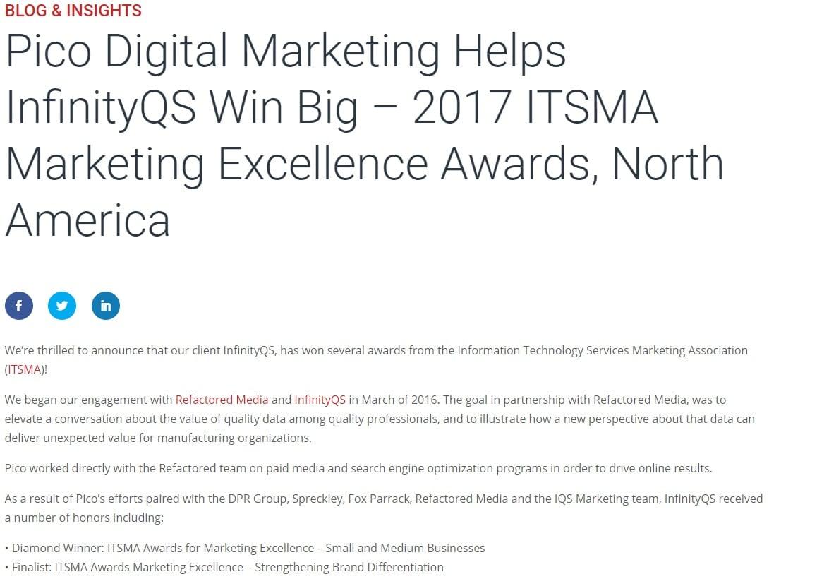 Pico Digital Demo - MEA Marketing Excellence Award 2017