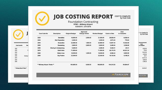 FOUNDATION Demo - Sample Job Costing Report