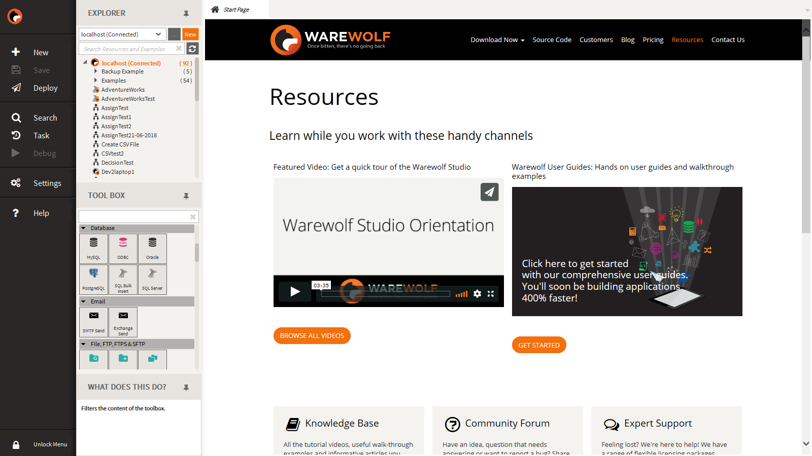 Warewolf Demo - Welcome to the Warewolf Studio