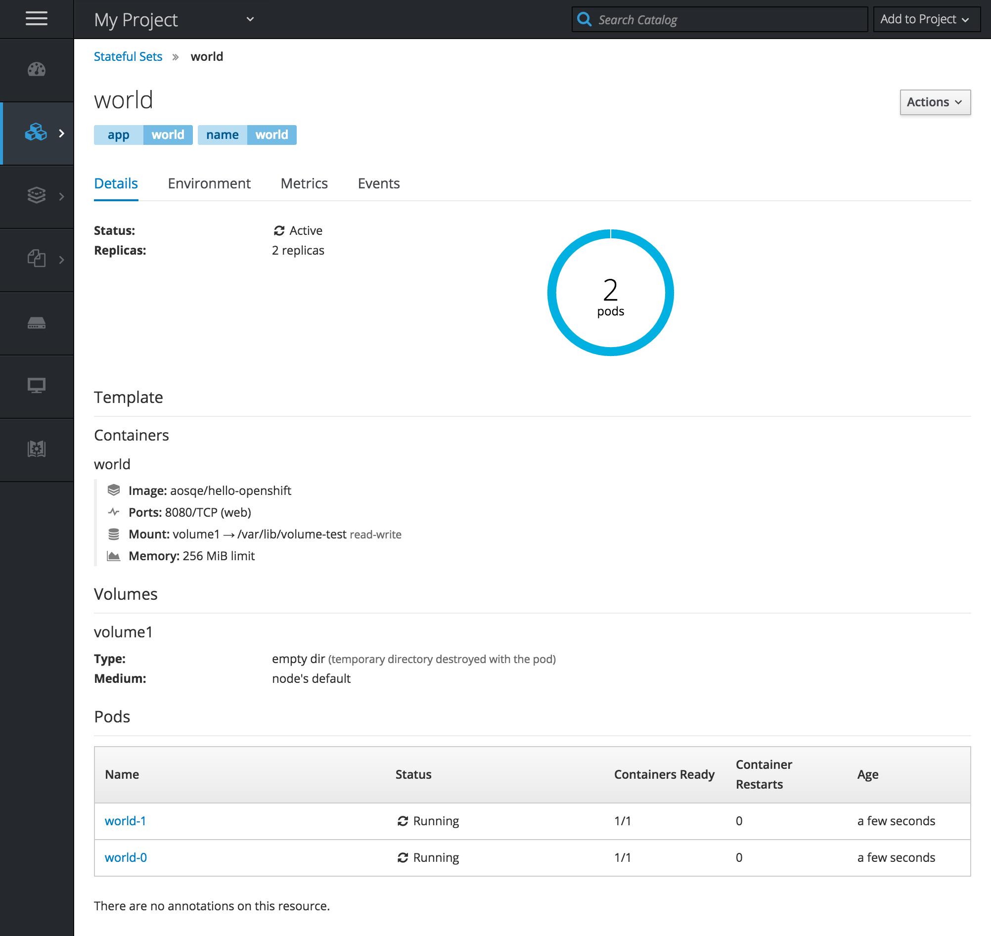OpenShift Demo - 3.9 DOCS Stateful Set