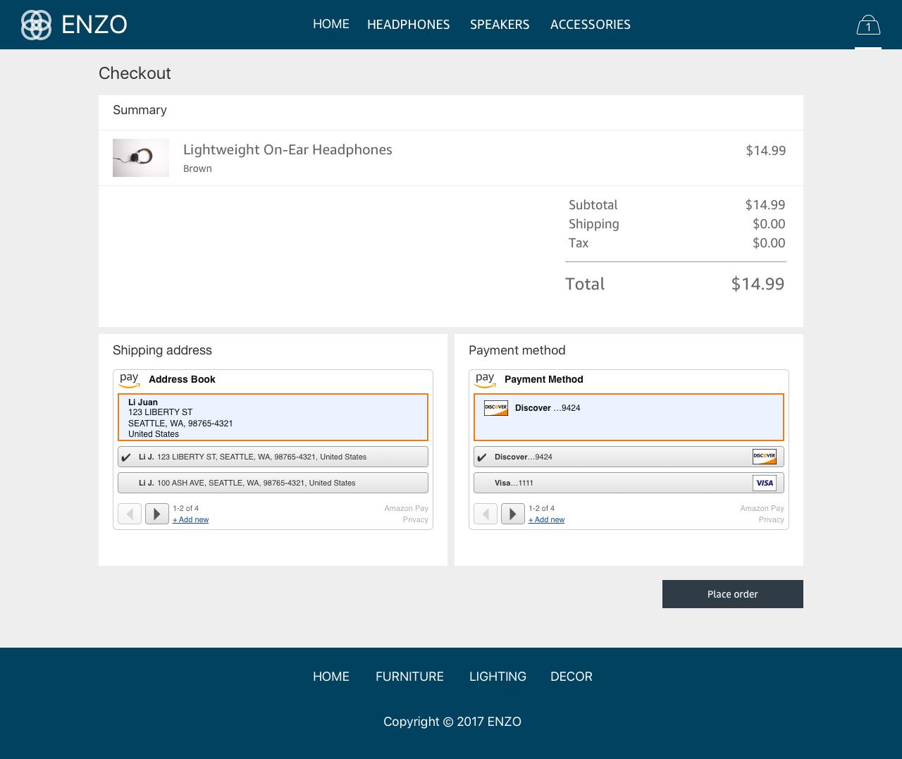 Amazon Pay Demo - #5 - Checkout