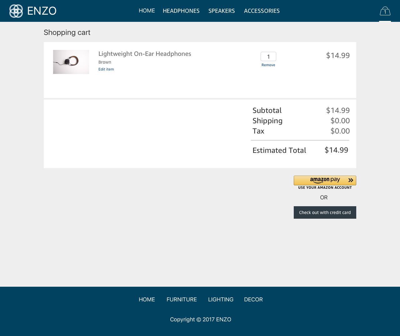 Amazon Pay Demo - #2 - Cart Page