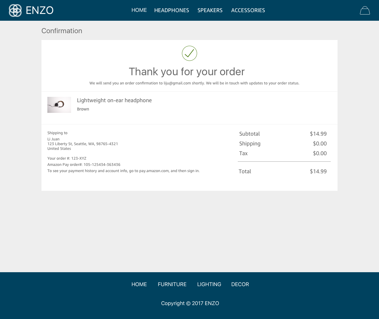 Amazon Pay Demo - #6 - Order Confirmation