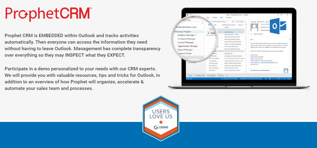 Prophet CRM Demo - ProphetCRM is entirely embedded within Outlook
