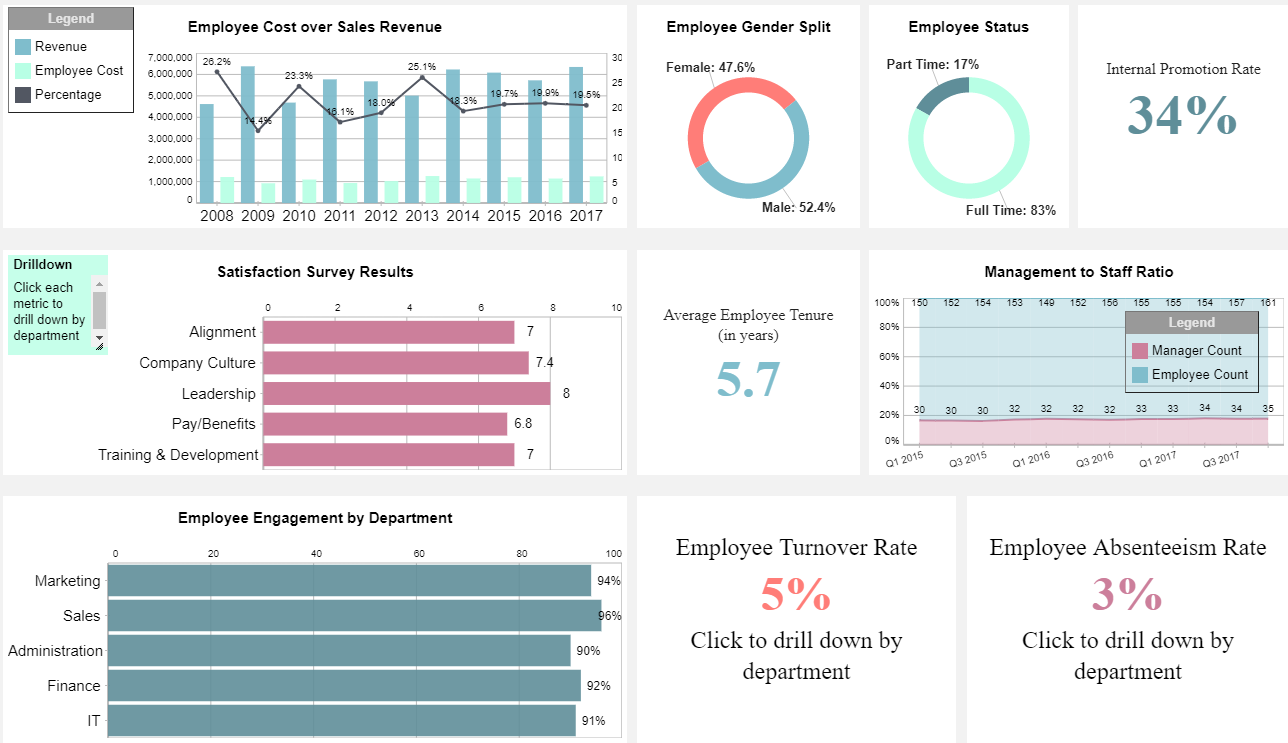 iDashboards Demo - Human Resources - Employee Dashboard