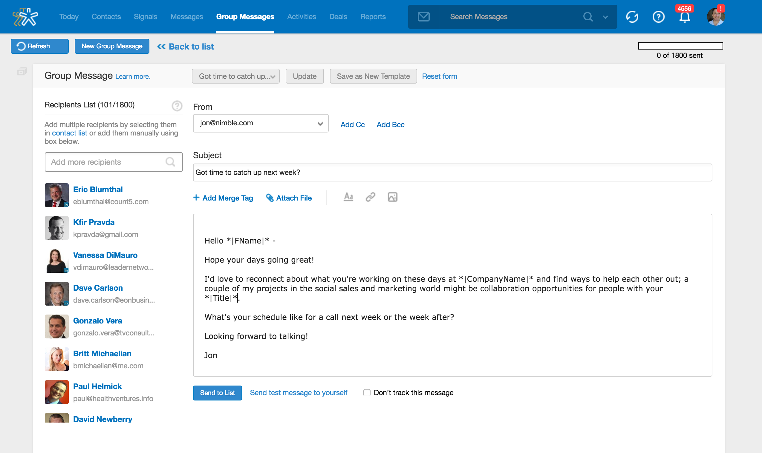 Nimble Demo - Track Personalized Group Messages from Nimble and Save Time Using Templates