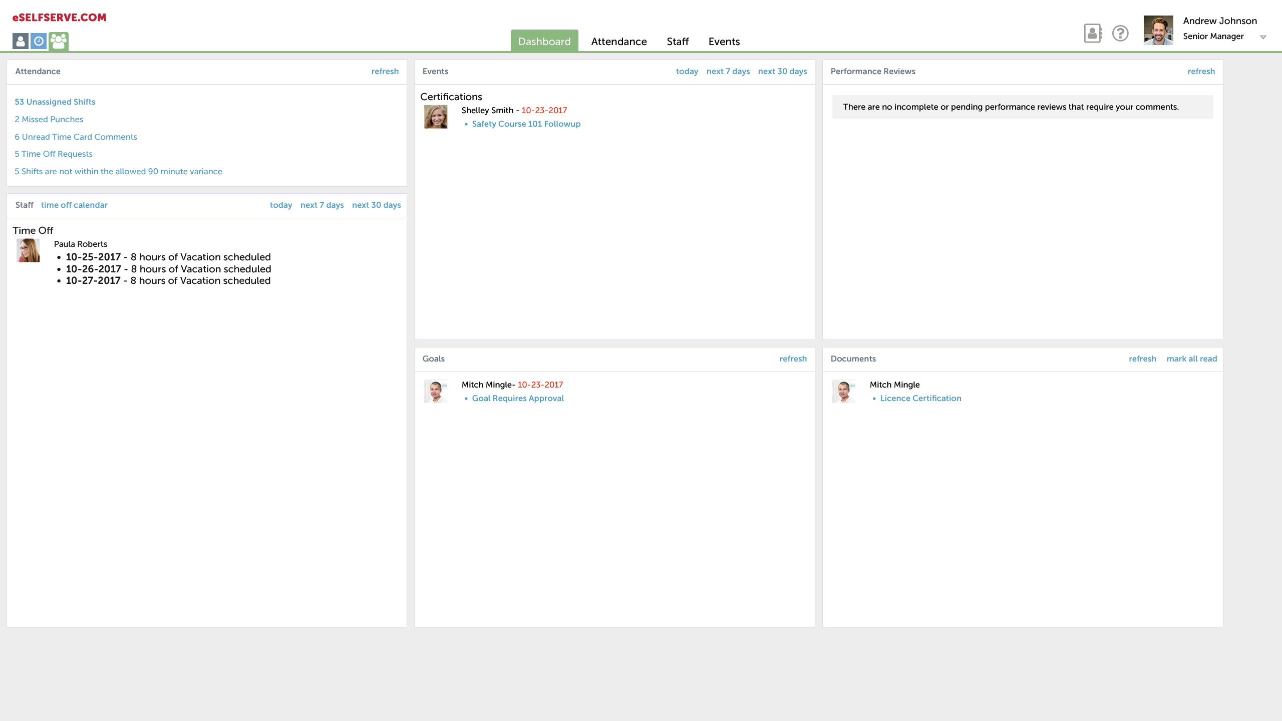 APS Core HR Solution Demo - Manager Self Service Dashboard