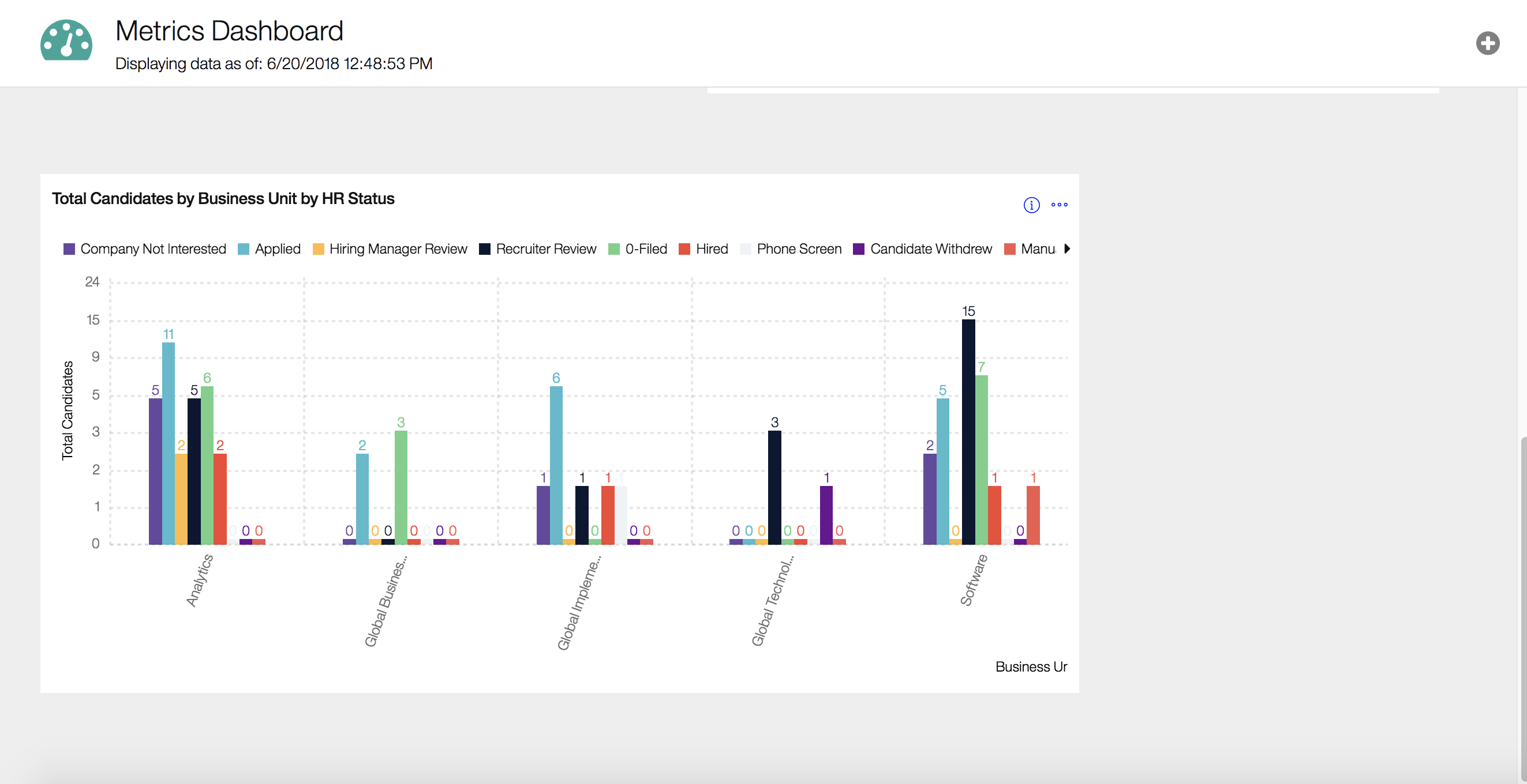 IBM Kenexa Talent Acquisition Suite Demo - BrassRing Metrics Dashboard by Business Unit