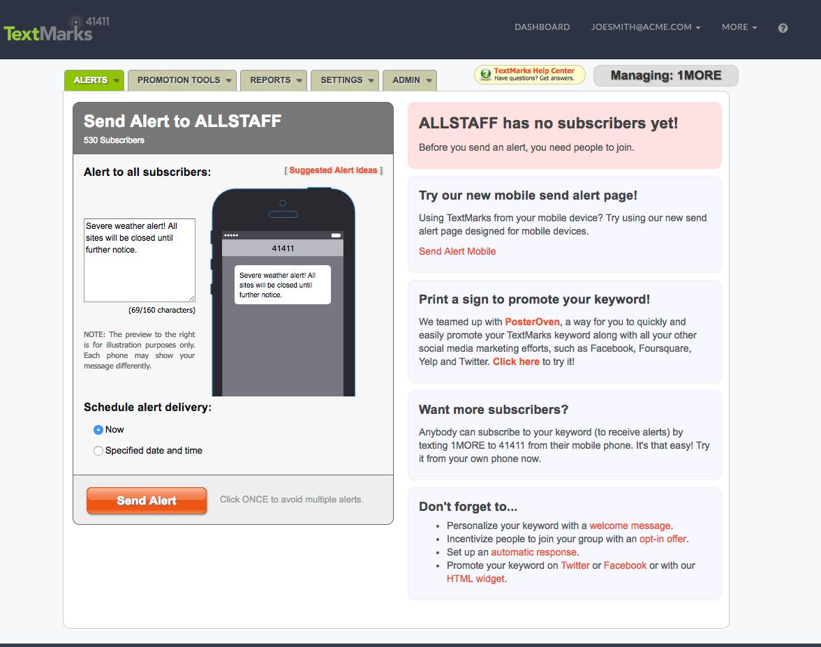 TextMarks Demo - TextMarks - Send Alerts